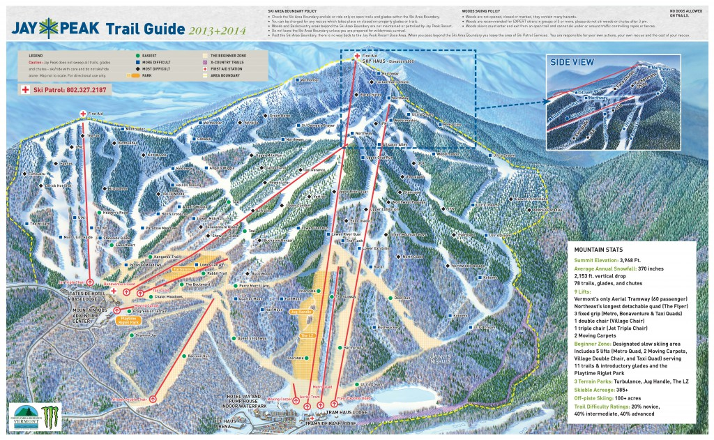Skiing Jay Peak Resort Trail Map