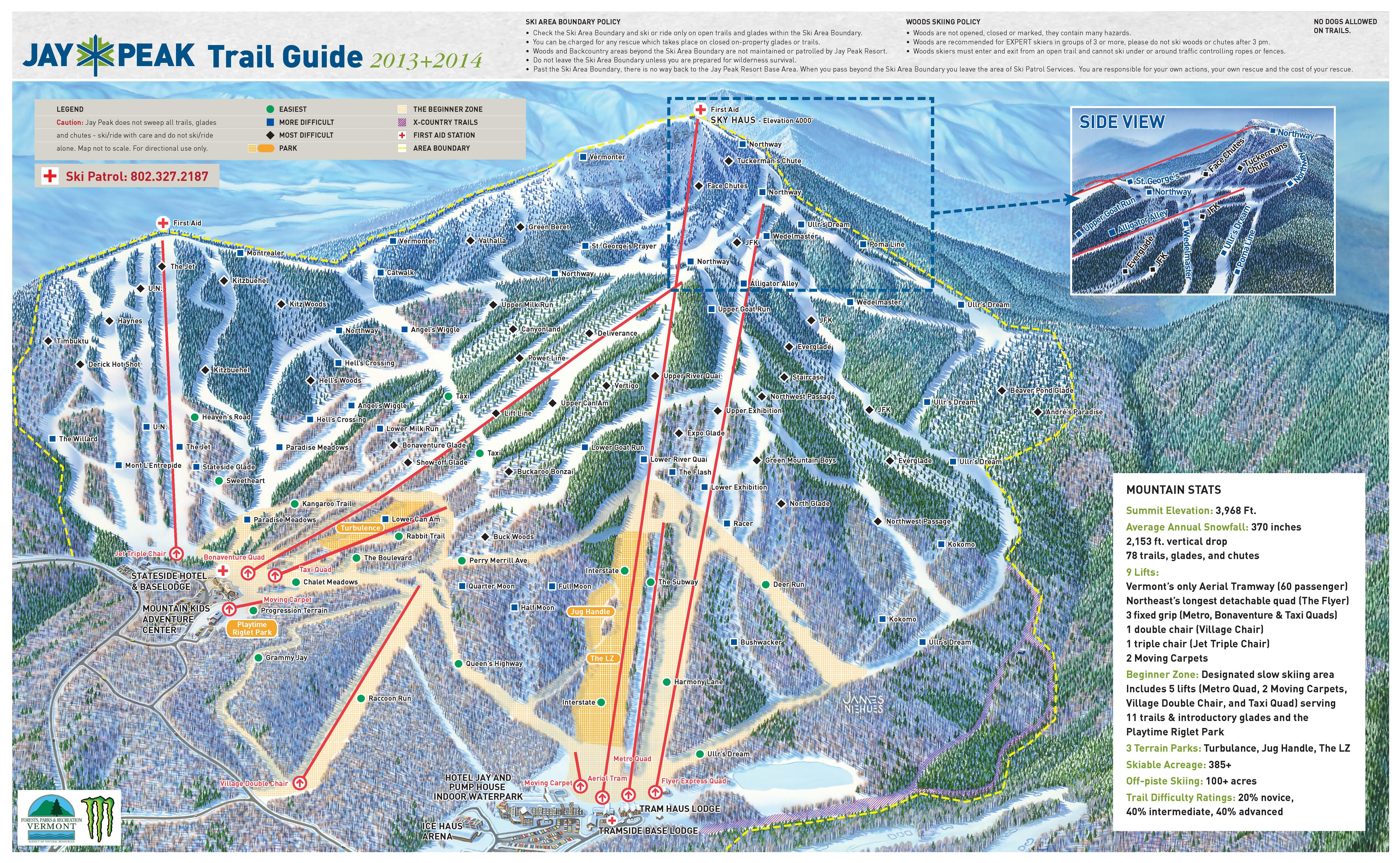 Jay Peak Resort Map Skiing & Snowboarding   Phineas Swann Bed and Breakfast Inn Jay Peak Resort Map
